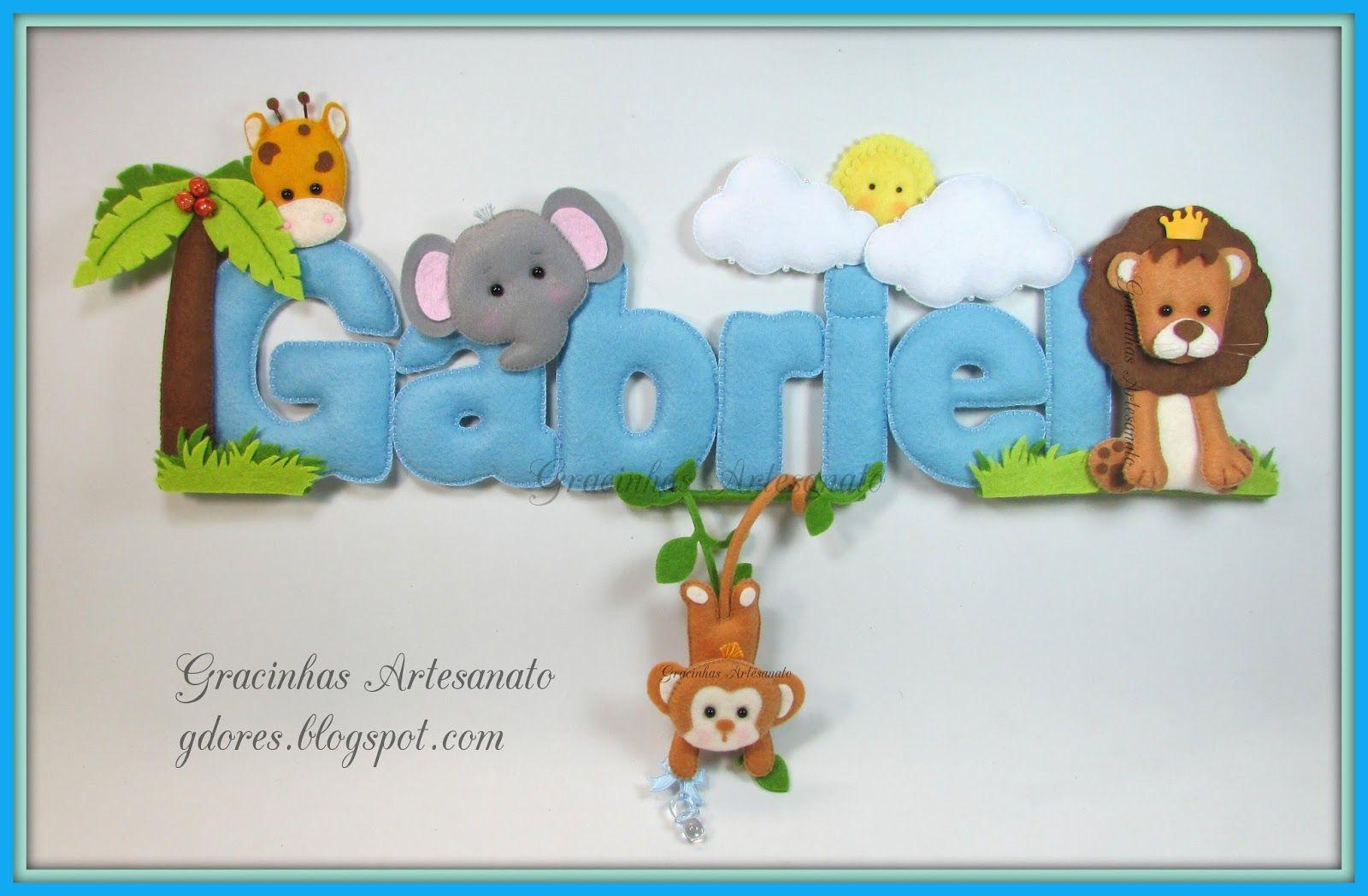 Nome Feltro Gracinhas Artesanato Quarto De Bebe Pinterest  ~ Artesanato Em Feltro Para Quarto De Bebe Menino
