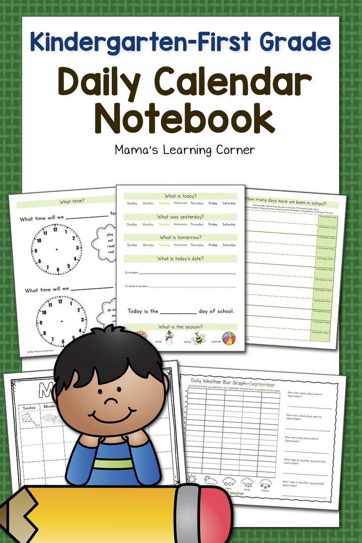 Kindergarten-First Grade Calendar Notebook   resources   Pinterest ...