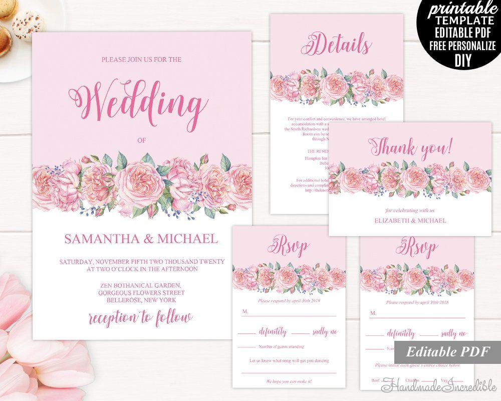 Pink Peony Wedding Invitation Set. Printable Wedding Invitation Set ...