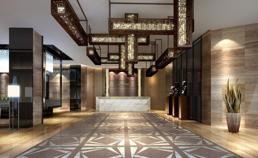 Amazing Lobby Hotel Interior With Patterned Floor And Modern