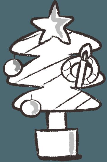 クリスマスツリー オーナメント イラスト モノクロ Gogons Magazine