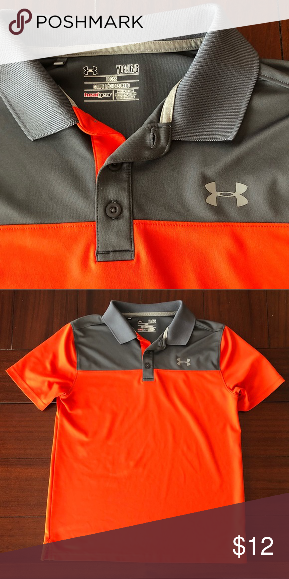 ec52fa84d9 Boys Under Armour Golf Polo Perfect condition, orange and gray color ...