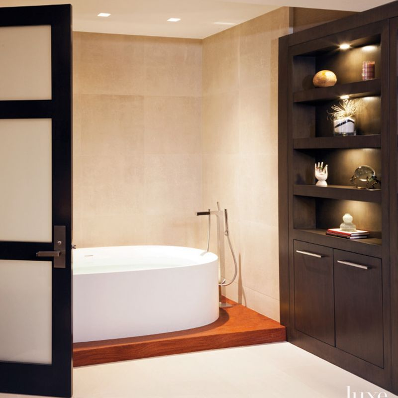 modern cream master bath  luxe interiors  design in 2020