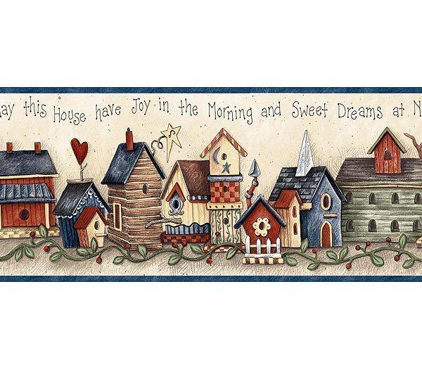 Blue Birdhouse Blessing Wallpaper Border Bird Houses Country Paintings Wallpaper Border