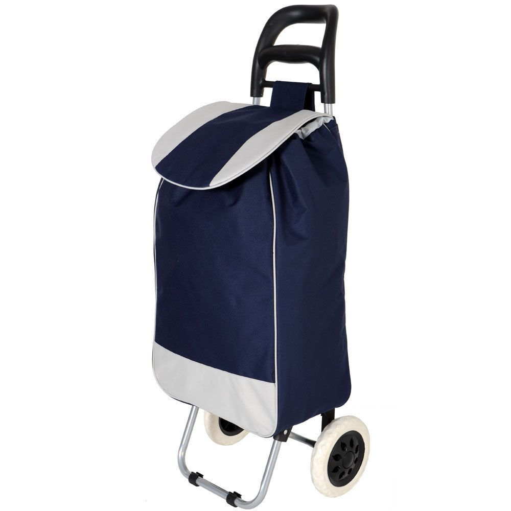 Lightweight Shopping Trolley Folding Stripe Printed Waterproof Oxford Cloth Shopping Trolley On 6 Wheels with Detachable Bag and Foldable Design Shopping Grocery Foldable Cart