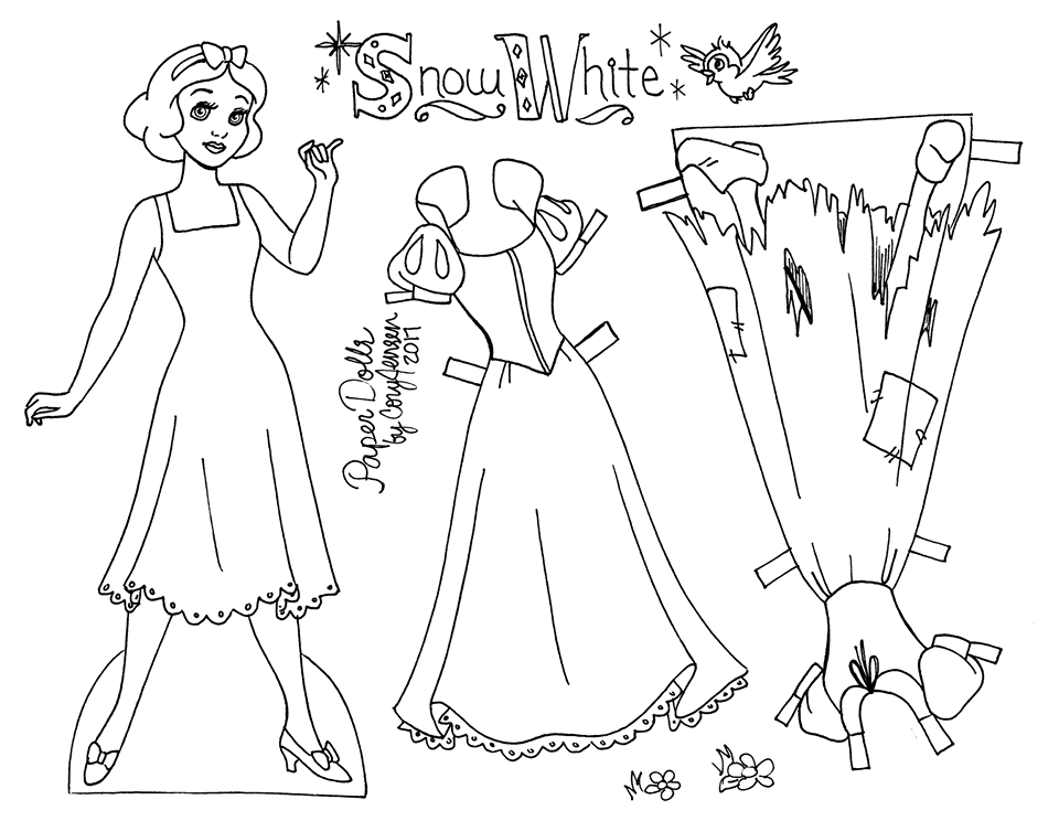 Snow White line art paper doll to color, by Cory Jensen (1