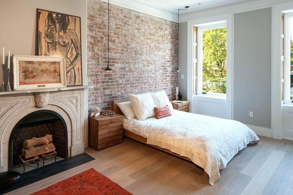 Image result for brick accent wall bedroom Brick wall