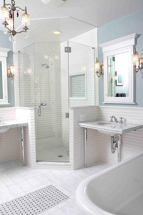 Updated Traditional Bathroom With Delicate Feminine Touch  Shower Beauteous Updated Bathrooms Designs Design Ideas