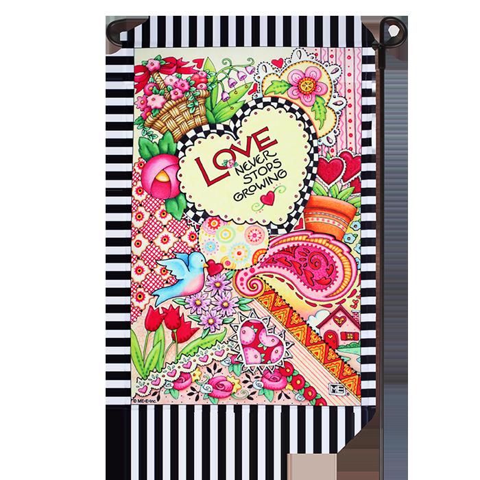 Valentineu0027s Mary Engelbreit Love Never Stops Growing Garden Flag