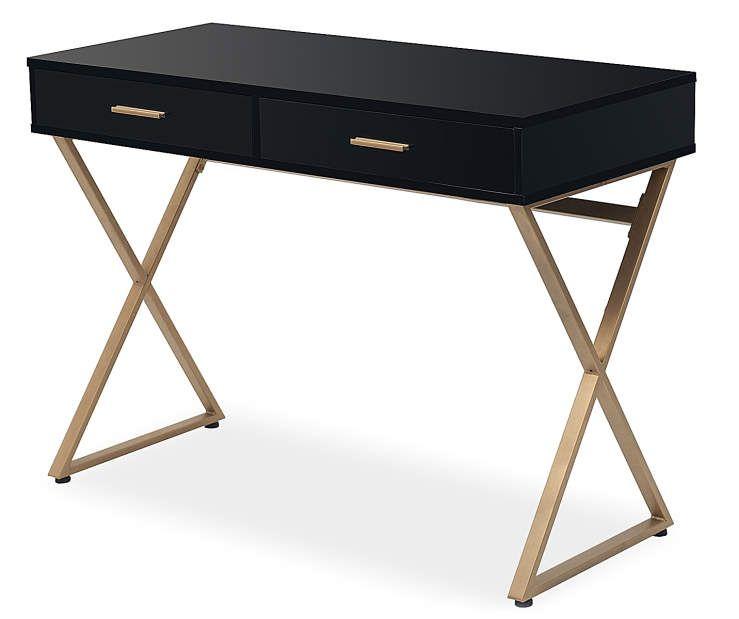 Just Home Black Gold 2 Drawer Desk Big Lots Desk With Drawers Black White And Gold Bedroom Sleek Desk
