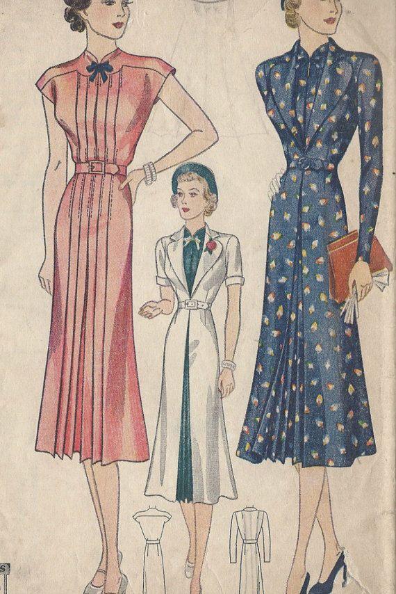 fb32b16b1 1939 Vintage Sewing Pattern B34 DRESS & REDINGOTE (R892) en 2019 ...