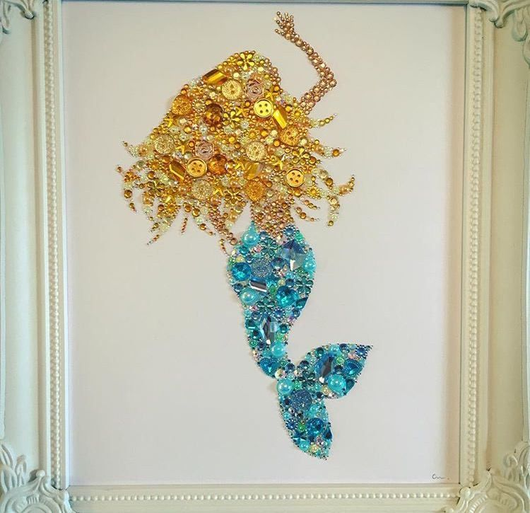 Mermaid Wall Art Girls Button Frame Gift Swarovski Nautical Decor Under The  Sea Mermaids The Little