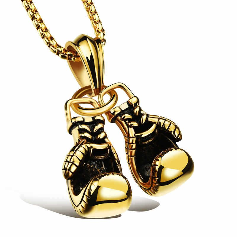 Sports black golden gloves pendant charm boxing necklace sporty sports black golden gloves pendant charm boxing necklace sporty jewelry stainless steel fist box chain jewlery mozeypictures Gallery