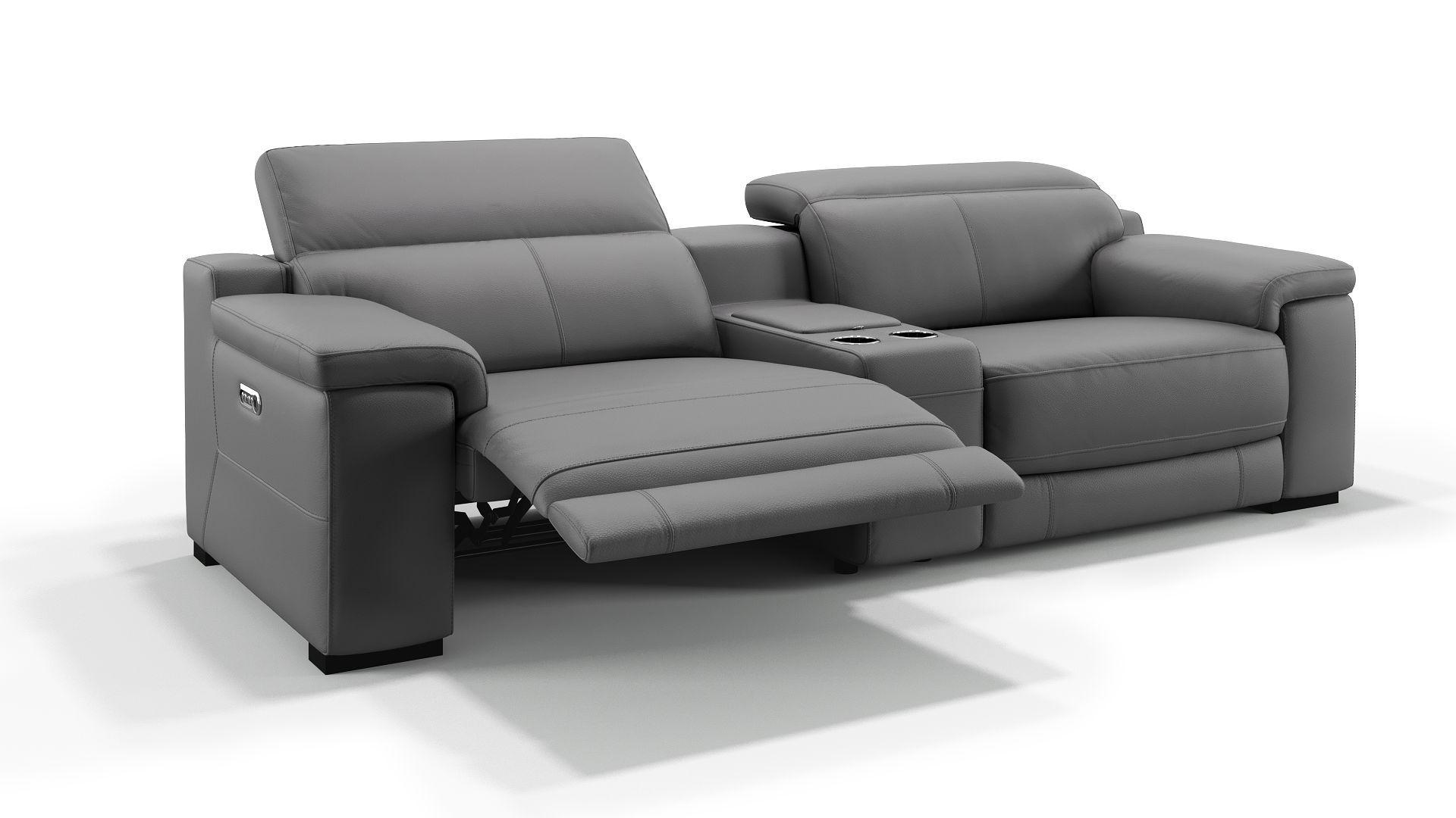 Details Elektrische Relaxfunktion Per Knopfdruck An Beiden Sitzen Elektrisch Getrennt Verstellbare Kopflehnen Sofa In 2 Gross Ledersofa Heimkino Couch Heimkino