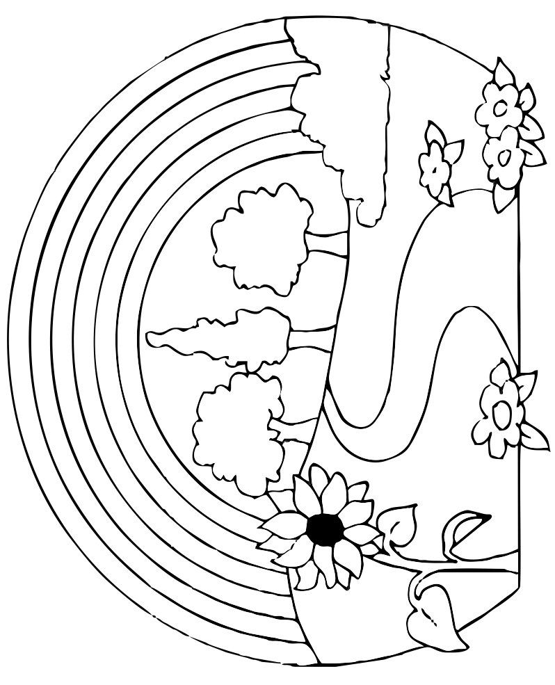 Rainbow Coloring Pages Spring Coloring Pages Nature Drawing For