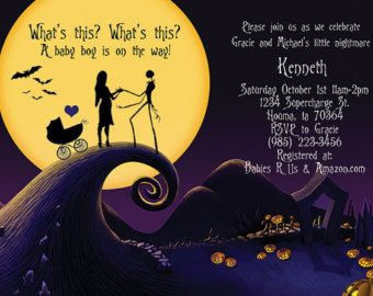 Nightmare before christmas silhouettes baby shower invitation 5 x 7 nightmare before christmas silhouettes baby shower invitation 5 x 7 vertical or horizontal custom made filmwisefo