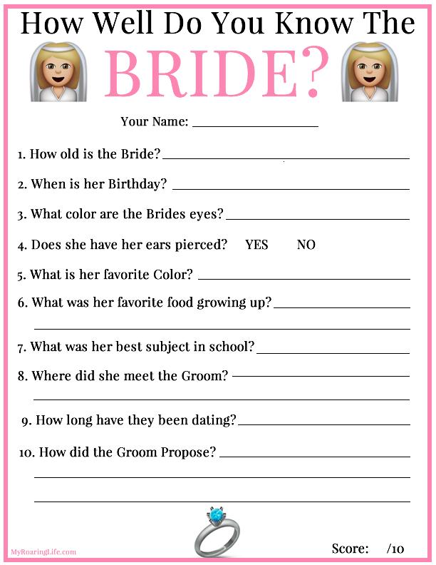 Bridal Shower Quiz How Well Do You Know The Bride Fun Ideas Emoji Myroaringlife