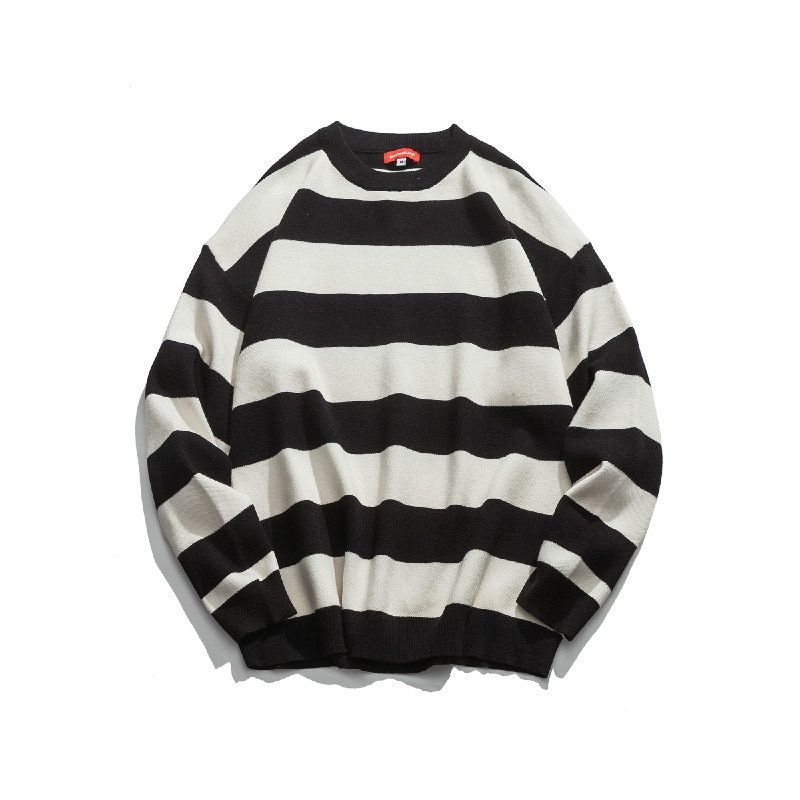 d8a86127723 autumn and winter youth new male stripe loose round neck embroidery  long-sleeve han version