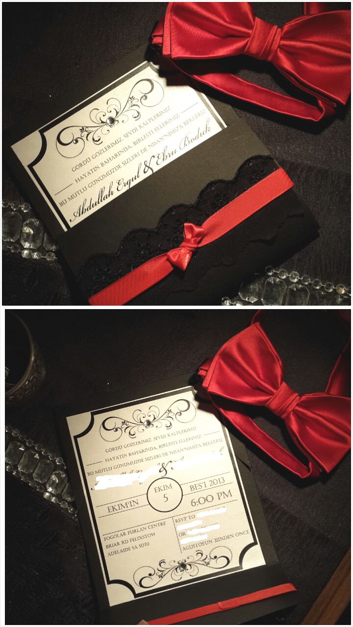 Engagement Invitation DIY - black cardboard, shimmer paper, red ...