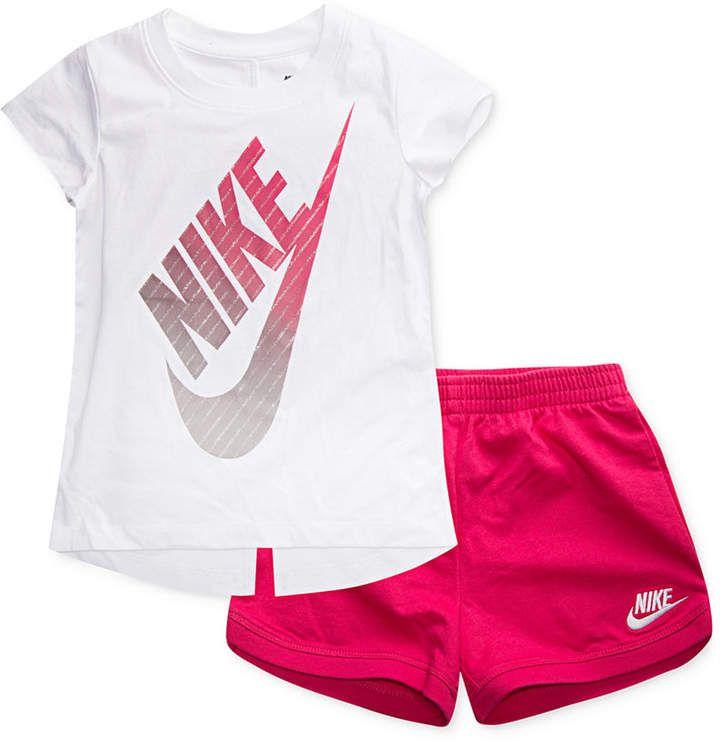 658264e23 Nike 2-Pc. Graphic-Print T-Shirt & Shorts Set, Toddler Girls | Cora ...