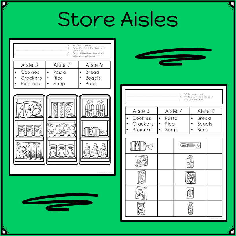 Life Skills Worksheets Grocery Store Life skills, Life