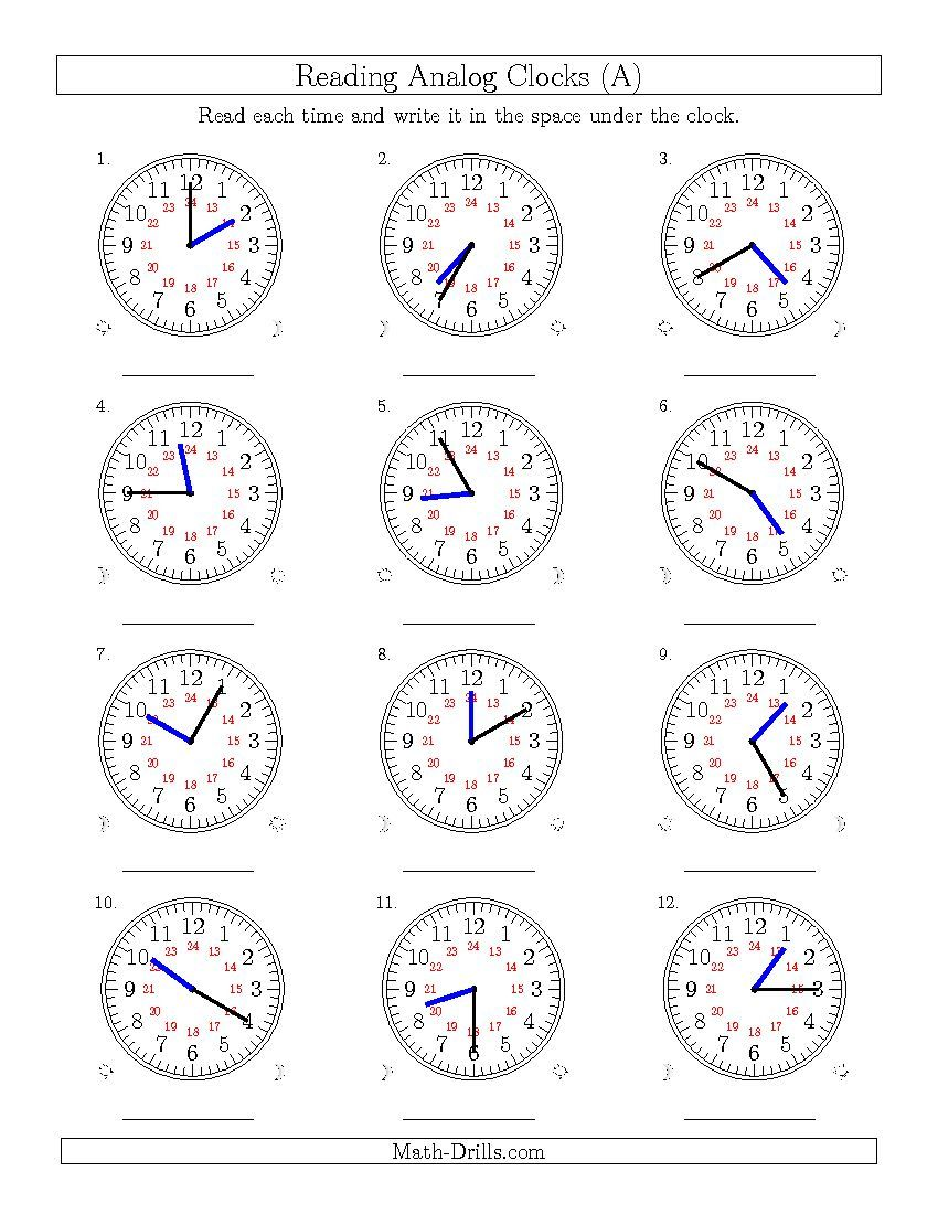 New 2015 04 02 Reading Time On 24 Hour Analog Clocks In 5 Minute