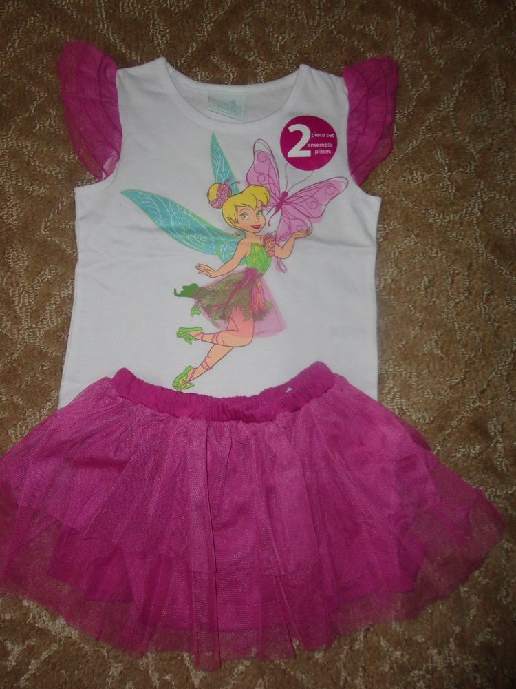 Disney Baby Girls' 2 Piece Tinkerbell Ruffle Tee and Tutu Set: sz 4T-NWT.CUTE!!