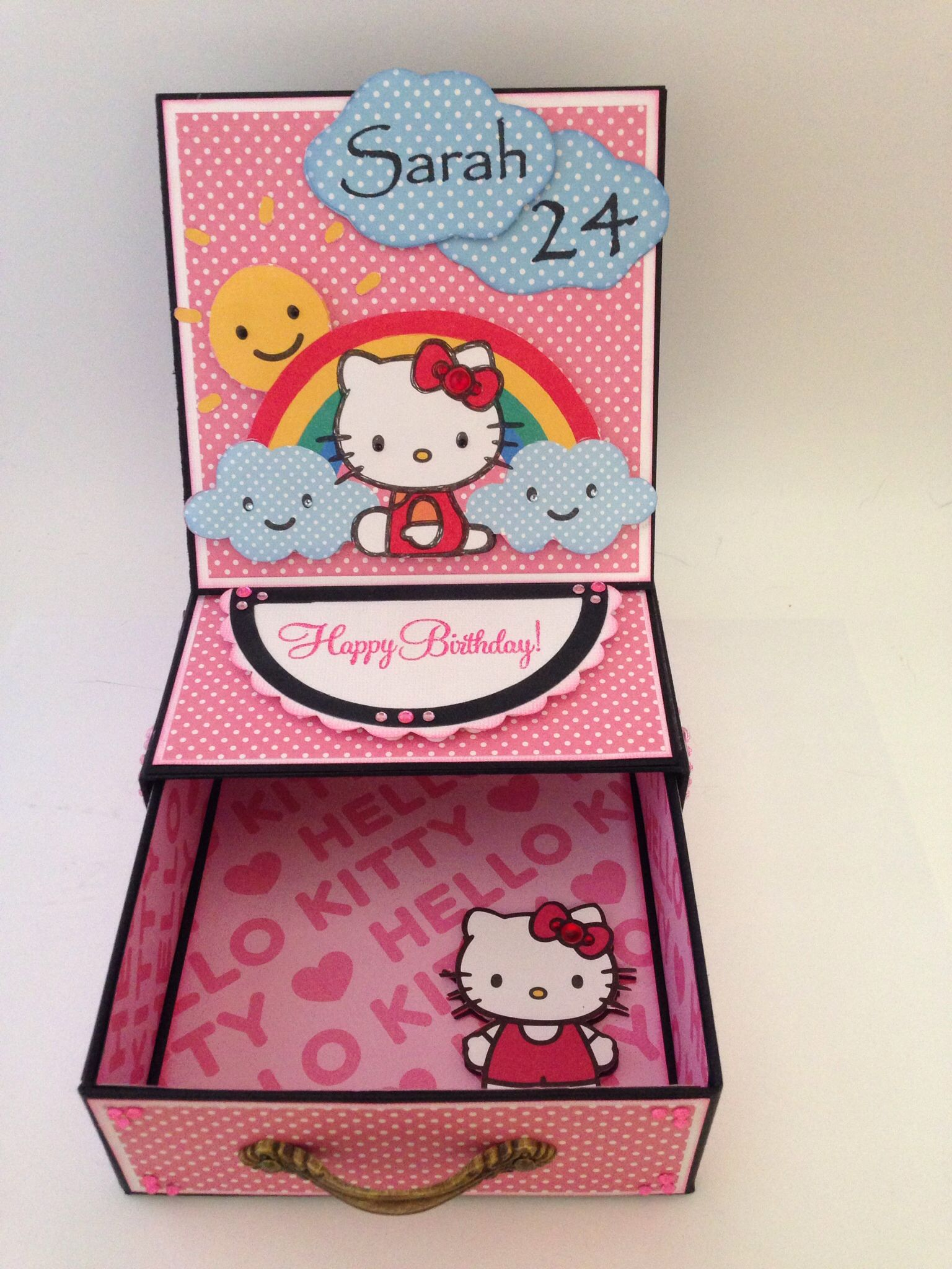 Decorative Card Boxes Hello Kitty Easel Drawer Birthday Card Box  Decorative Card Boxes