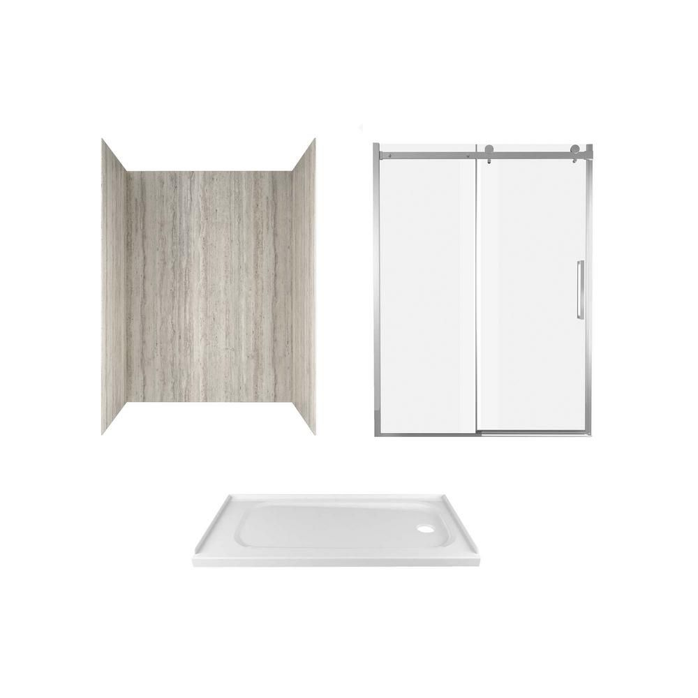 American Standard Passage 60 In X 72 In 3 Piece Glue Up Alcove Shower Wall Door And Base Kit With Right Drain In Pewter Travertine P2712rho 370 Shower Wall Kits Travertine Shower Shower Kits
