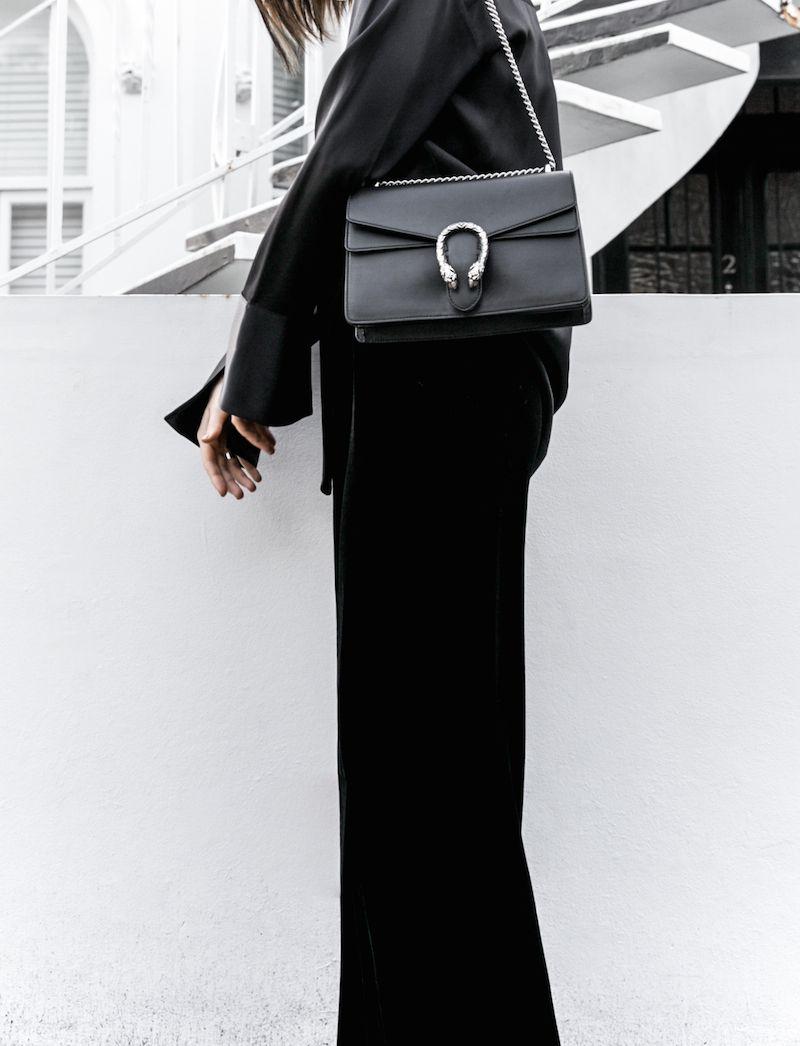 c51c4c6fe6c minimal all black outfit street style blogger modern legacy pyjama dressing Gucci  dionysus leather bag (2 of 8)