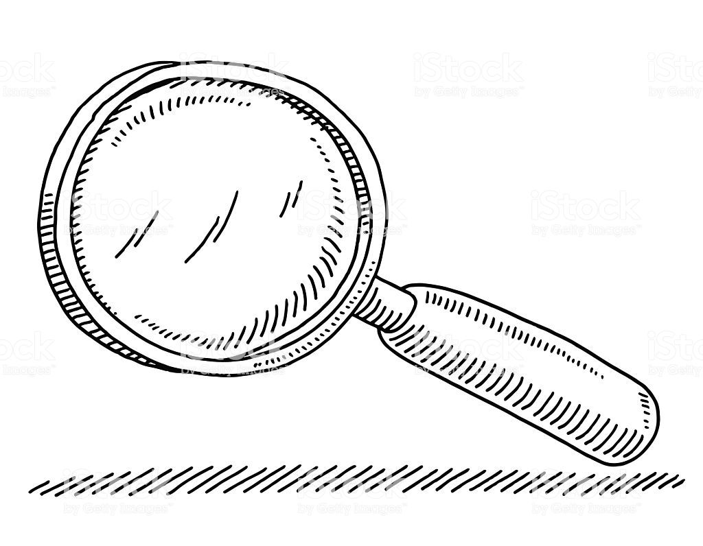 Hand Drawn Vector Drawing Of A Magnifying Glass Black And White Magnifying Glass Magnifing Glass Magnifier