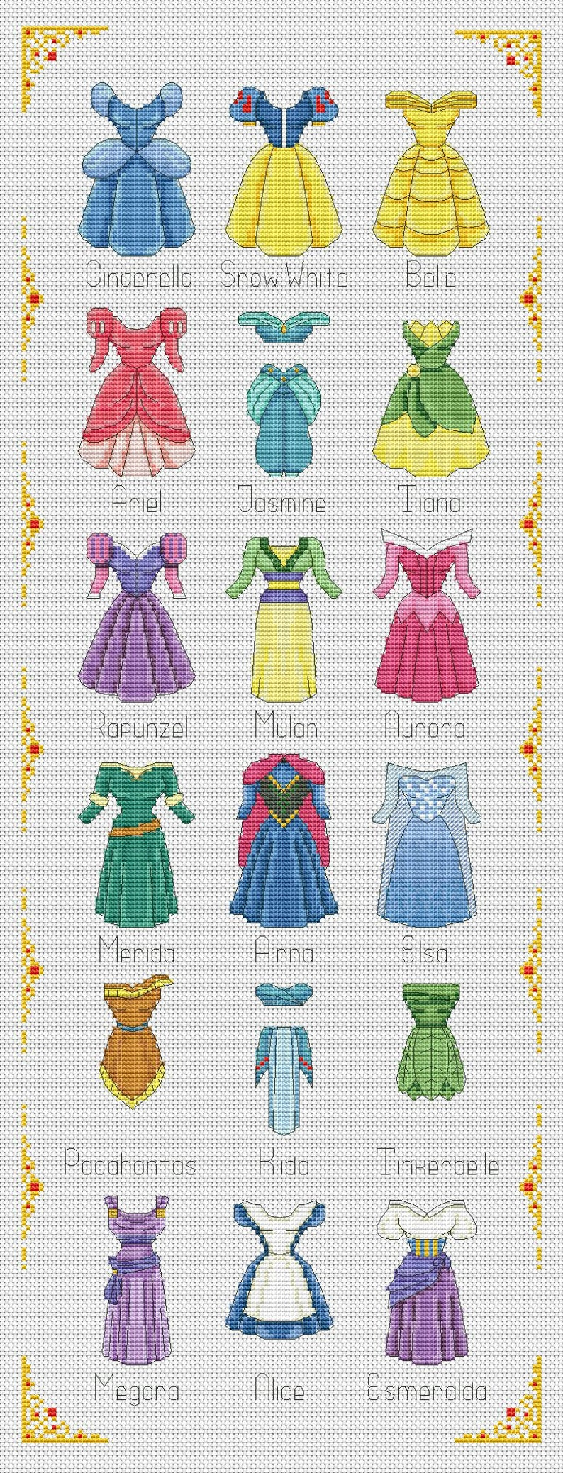 Photo of ALL DRESSES Disney cross stitch pattern Disney princesses  cross stitch pattern