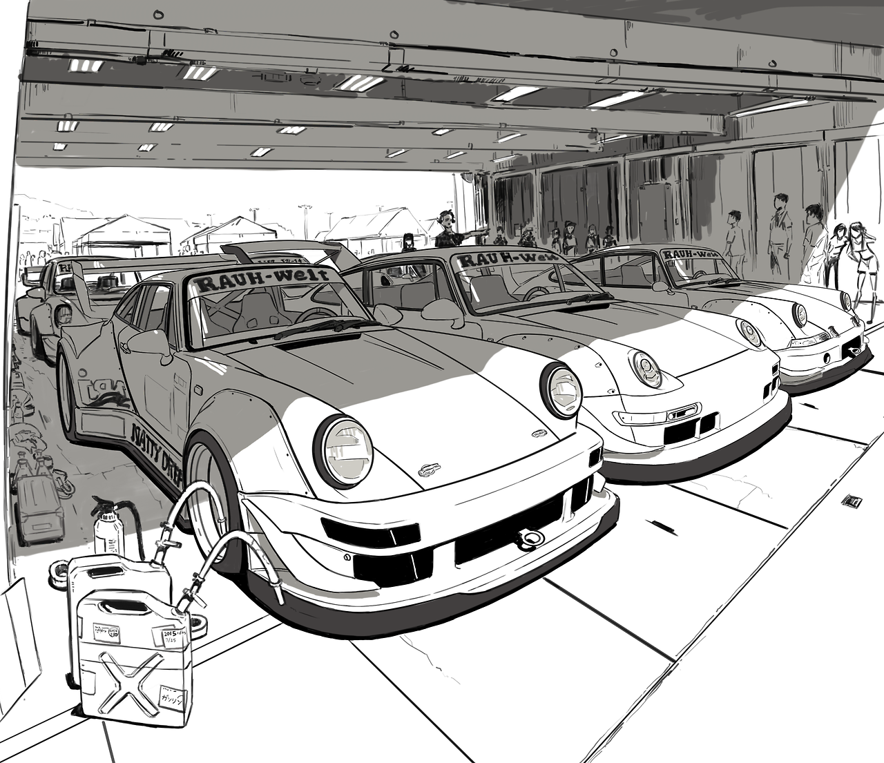"gtkiller: ""RWB Idlers event sketch. "" fresh* 