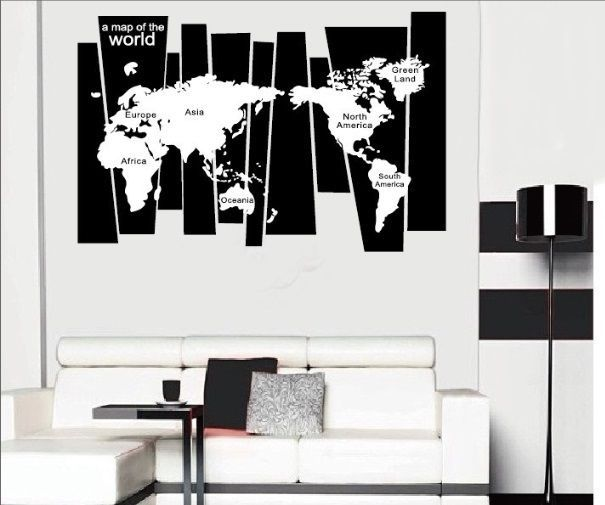 Details About World Map Travel Black Wall Decal Living Room