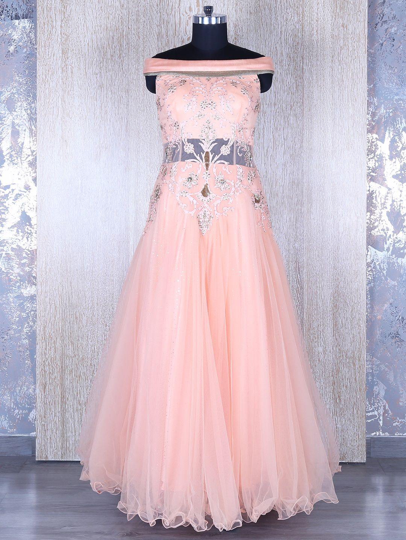Peach Net Gown | Buy Designer Gowns at G3 Fashion | Pinterest