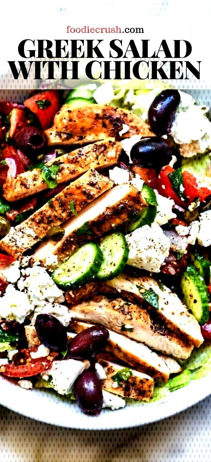 Salad with Chicken | foodiecrush .com Greek Salad with Chicken |  Crisp, crunchy, and fresh with ta