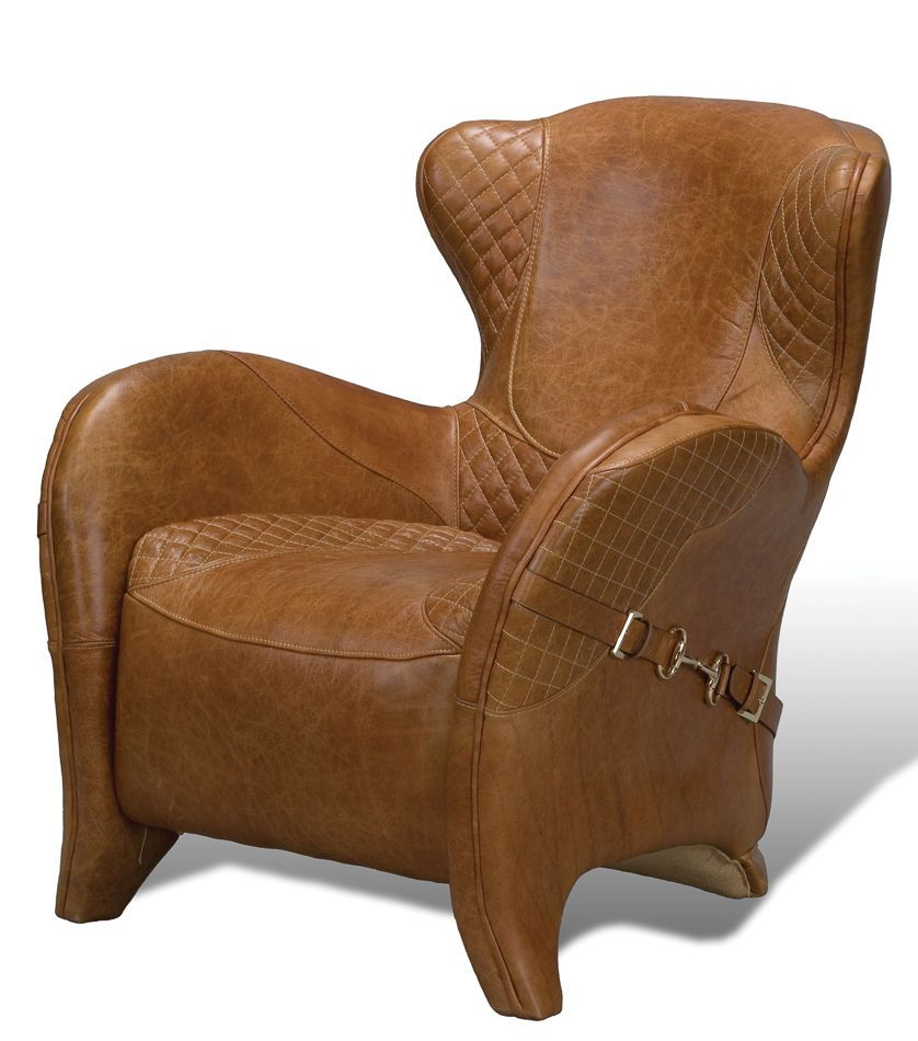 Charming Leather Chair Modern Wing Style Gucci Horse Bit Accents Diamond Pattern Tan  New #rnowplaying #