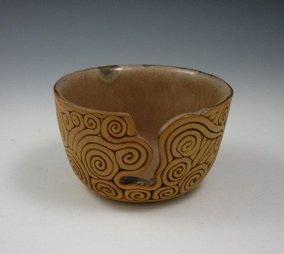 Coilbuilt Pottery Yarn Bowl for Knitters and by KulshanClayworks