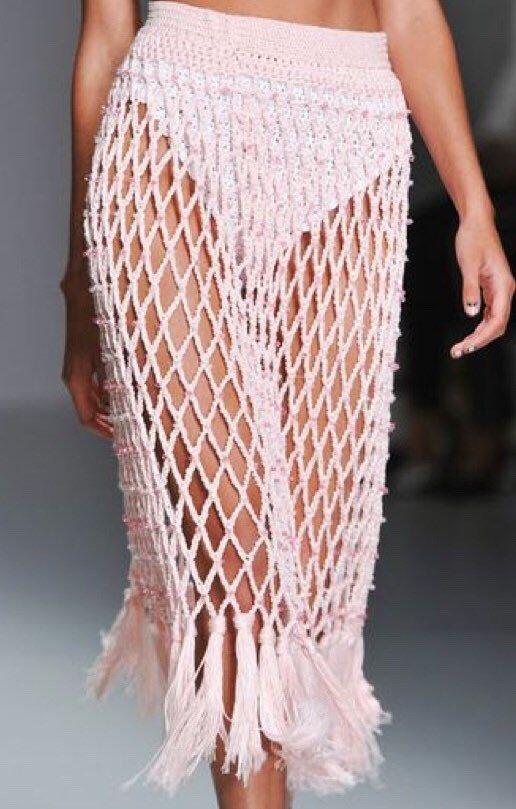 Crochet Fishnet Fringed Skirt, Boho Hippie Gypsy Ethnic Skirt, Festival Clothing #summerswimwear
