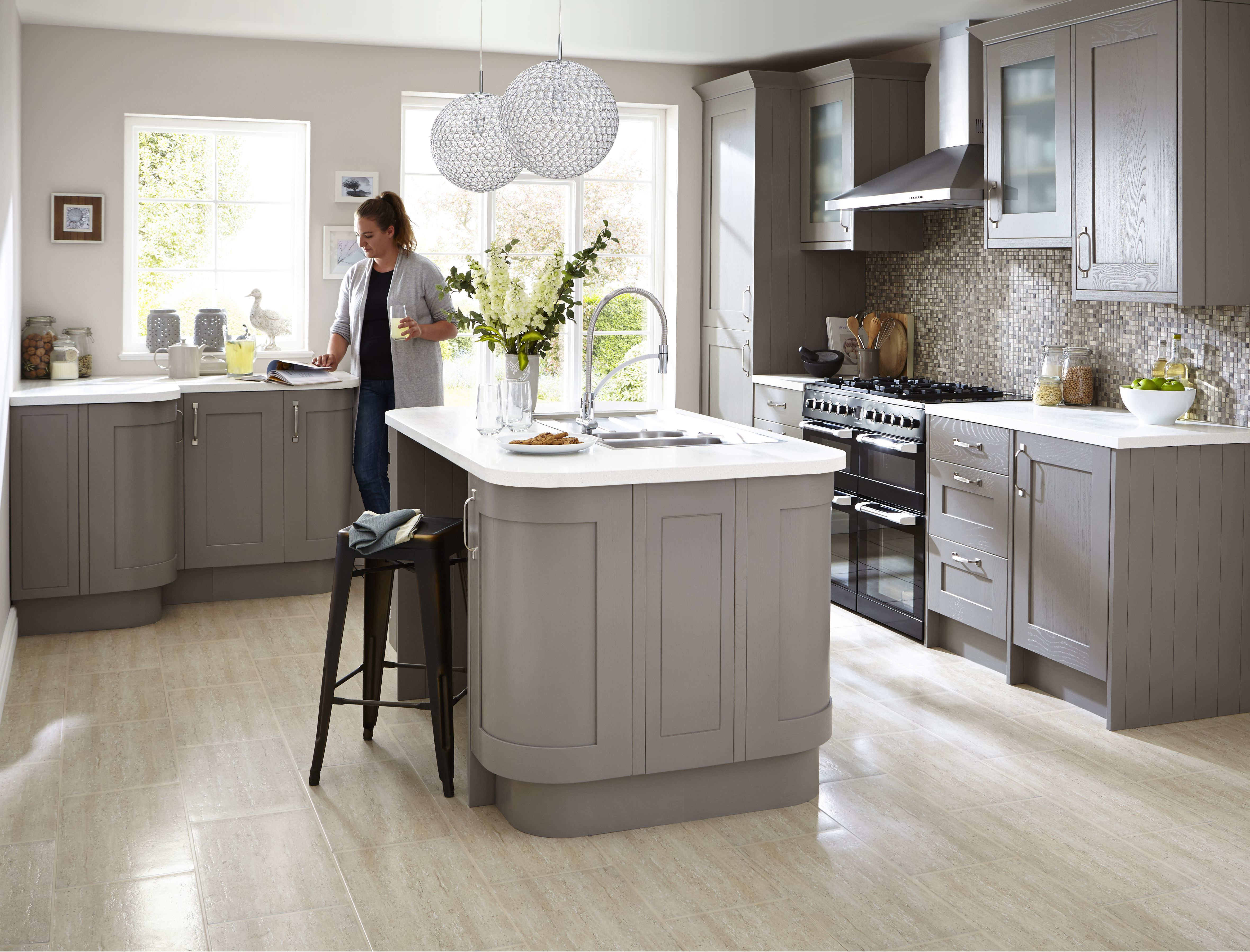 The refined woodwork of our Carlsbrooke taupe kitchen helps retain