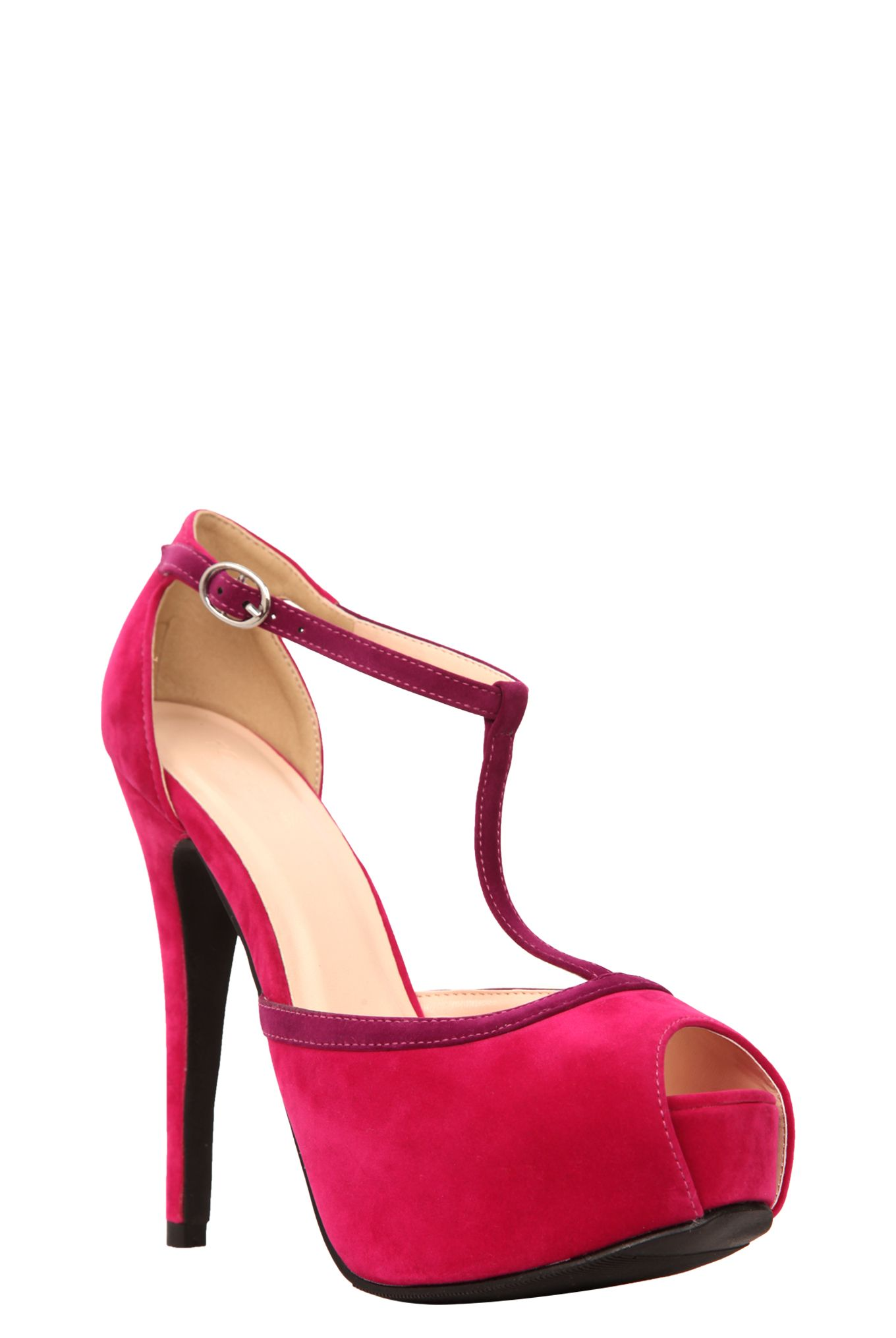 "With a bold, sultry silhouette and sky-scraping height, these peep toe heels fit you to a ""T."" Purple trim contrasts beautifully with the fuchsia suede for a shoe that's perfect for your next sexy date-night look.Fits roomier than the standard medium width."