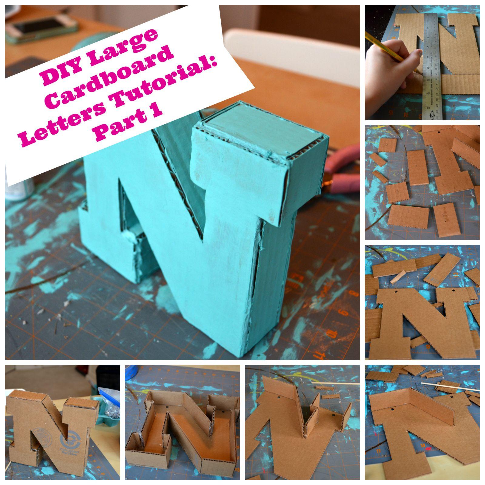 Diy Large Cardboard Letters Part 1 Large Cardboard Letters Cardboard Letters Diy Cardboard