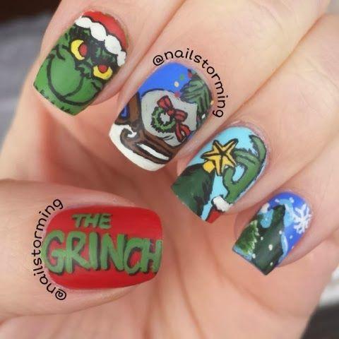 grinch nails with images  holiday nail art cute nail