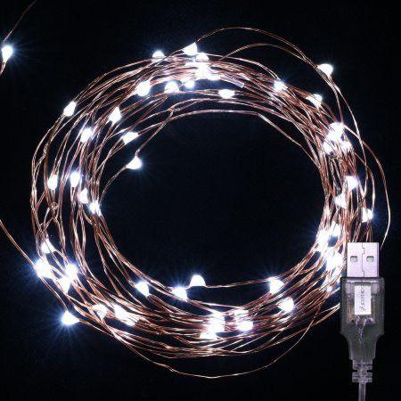 Oak Leaf 2 Set of 60 LEDs 19.7ft Starry Lights USB LED String Lights Copper Wire for Christmas Home Bedroom Party Wedding Decoration 2-pack,Cool White