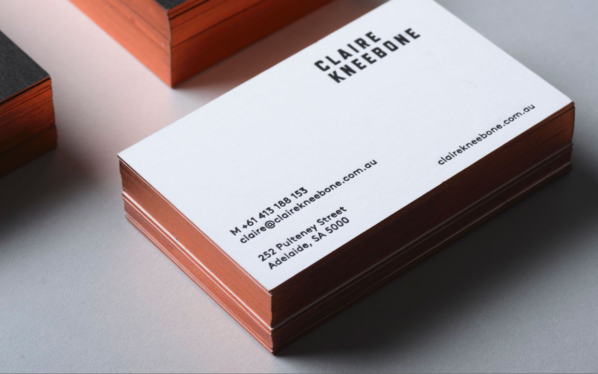 claire kneebone business card designed by band