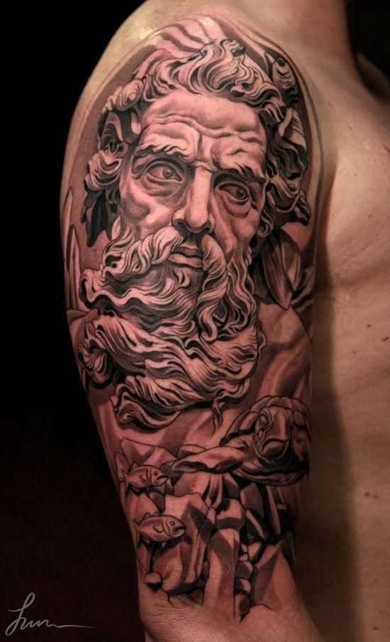 Renaissance Tattoo On Sleeve Tatuagem Poseidon Tatuagem Tatoo