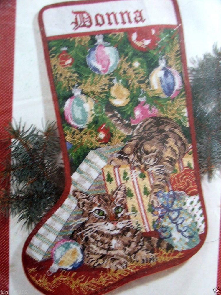 Needlepoint Christmas Stocking Kit.Janlynn Playful Cats Needlepoint Christmas Stocking Kit