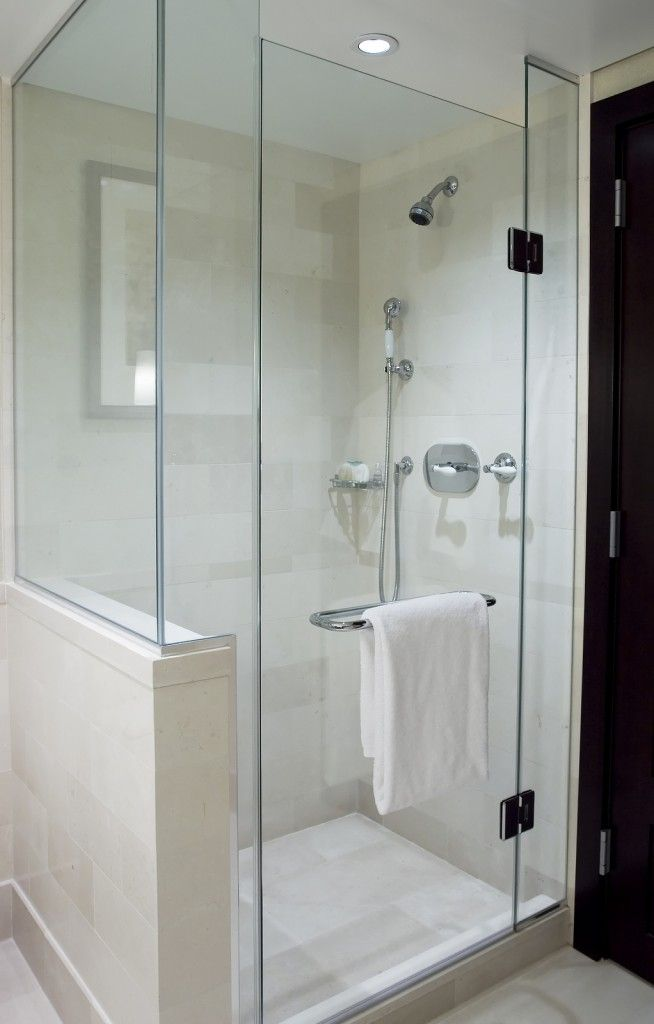 Frameless shower without soffit or return wall, in similar ...