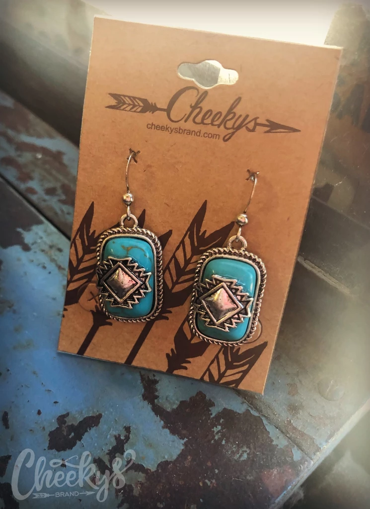 Turquoise Aztec Drop Earrings #aztec