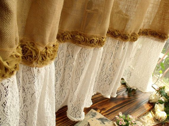 Shabby Washed Rustic Chic Burlap Shower Curtain Lace Ruffles